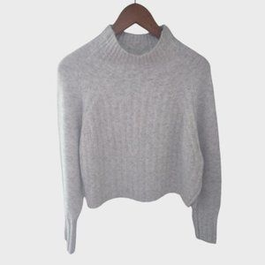 New Topshop Ribbed Cropped Sweater Small 4-6 Wool Gray Soft Cozy